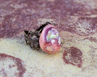 Brass Filigree and Agate Ring