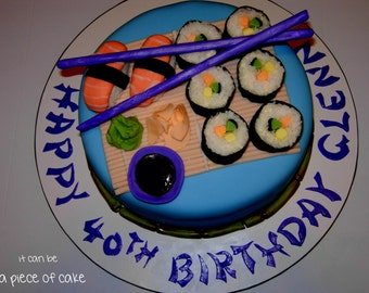 edible sushi set cake topper decorations