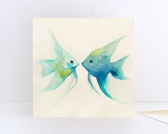 Angelfish, two fishes together, tropical fishes - Greeting Card