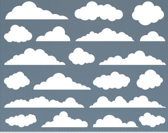 Clouds Clipart Digital Clouds Clip Art Baby Shower Vector Clouds White Clouds Scrapbooking Invitations Weather Clipart