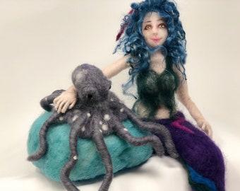 Needle felted mermaid, needle felted octopus, art doll soft sculpture, Waldorf style, marine decoration