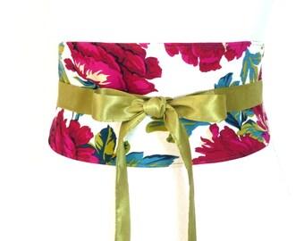 "Reversible Obi Belt ""Indian Roses"" white, pink, fuchsia, green, flowers, green taffetas ties waist-clencher"