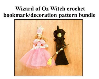 Witches crochet bookmark/decoration pattern, wizard of Oz witch diy, Halloween decor pdf, bookmark crochet instructions, shadow box art diy
