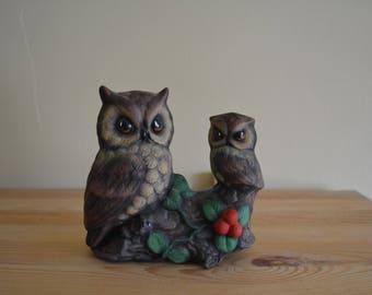 Pair of Owls Ceramic Figurine
