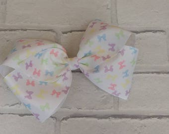 "Girls large 8"" inch Bow Print Boutique Hair Bow like JoJo Siwa Bows Signature keeper dance moms Christmas Eve box gift stocking filler"