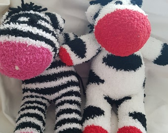 Sock horse zebra spotted black and white plush striped pink toy teddy