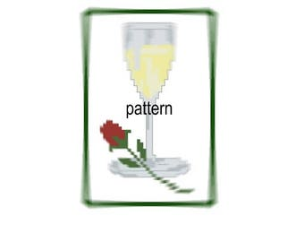 Champagne glass Cross Stitch Pattern embroidery Red rose  Back stitch Pattern Download PDF Chart Instant Download colorful pattern digital