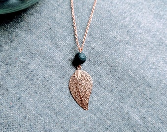 Rose Gold Diffuser Necklace - Rose Gold Filigree Leaf Necklace - Lava Stone Essential Oil Necklace - Lava Stone Diffuser Necklace for Women