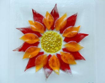 Fused glass plate,painted fused plate,red orange square flower plate