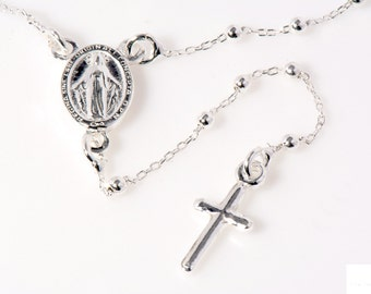 "Rosary Necklace 925 Sterling silver 17"" Length silver ball beads, confirmation gift religious traditional Baptism gift"