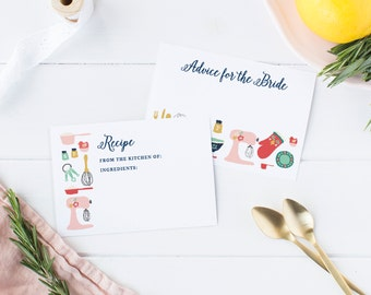 Recipe Cards for Bridal Shower, Kitchen Bridal Shower, Recipe Cards Printable and Advice Cards, 3.5x5, Advice for the Bride, TEMPLETT