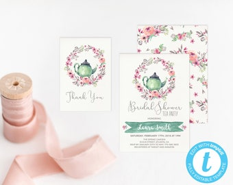 Bridal Tea Party Invitation Printable Bridal Shower Invitation Tea Pot Bridal Shower Invite Watercolor Floral Bridal Brunch Invite Template