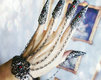 Gothic Claw Rings Nail armor Bracelet Set Made in your Custom Color choice!