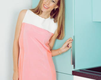 Contrasting cuts, colors pink and white sleeveless dress