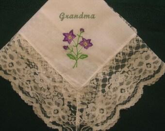 Handkerchief with flowers 142S Personalized Wedding Handkerchief