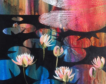 Lily pads // Original abstract painting // 16 x 16 inches // Free Shipping