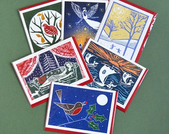 Pack of 6 Christmas Cards, Lino Print, Partidge in a Pear Tree, Robin, Holly, I Saw Three Ships, Angel, Children Skating, Art Deco, Vintage