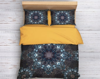 Gray Boho Bedding, Mandala Bedding Set, Hippie Bedding, Bohemian Bedding, Ethno Bedding, Boho Bedding, Indie Bedding, Full, Queen Bedding