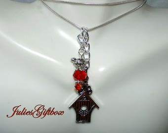 """Unique Bird House & Bird Nest Necklace With Fire Orange/Red Crystal 19"""" 2""""Ext. SP Snake Chain-Ready to Ship Free US Domestic Only-"""