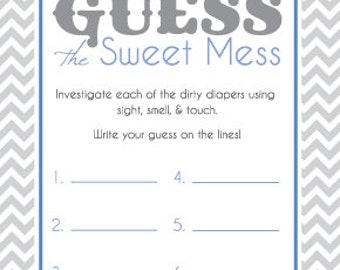 Baby Shower Game Cards For Guess The Sweet Mess Candy Bar Game! Dirty Diaper  Game! Printable! Blue And Gray! Ready To Print!