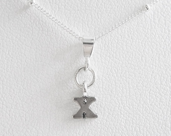 Initial Letter X Mini Pendant Charm and Necklace- Letter X, Initial X, Letter X Pendant, Letter X Charm, Initial X Pendant, Initial X Charm