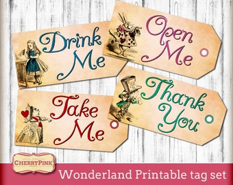 Alice in Wonderland Printable Tags, labels, Drink me party tags, Open me gift tags, Wonderland theme DIY party supply, Instant Download