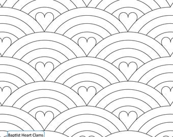 BAPTIST HEART CLAMS -Longarm Quilting Digital Pattern for Edge to Edge and Pantograph Handiquilter Gammill Statler Stitcher Long Arm Machine