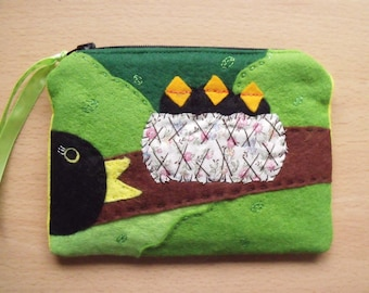 SOLD, but see description. Blackbirds, Embroidered, Hand Sewn, Fabric Rich Padded Felt Mobile Case and/or Purse