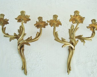 Antique candle sconces, Three arm sconces, Candle wall lights, Candle holders, French sconces, Rococo, Bronze sconces, 1900's sconces