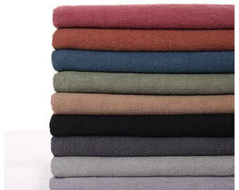 140cm / 55 inch Width, Solid Washed Linen Cotton Fabric, Sixteen Colors Available, Half Yard