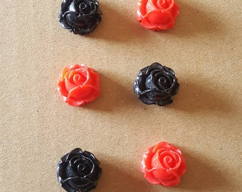 Rose Thumb Tacks ~ Set of 6 ~ Black & Red ~ Cubicle Decor ~ Teacher Gifts ~ Co-Worker Gifts