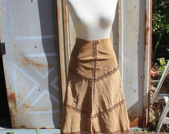 "90's does 70's Festival Style Leather Paneled Skirt with Crochet Lace - 31"" Waist M"