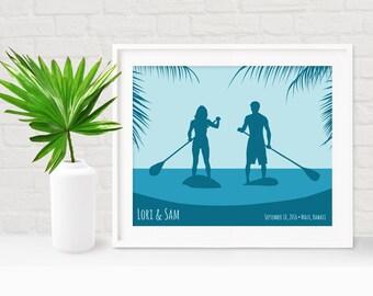 Tropical Wedding Gift, Adventure Anniversary Gift, Beach Couple Art, Beach Couple Gift, Custom Beach Engagement Gift, Stand Up Paddle Board