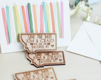 Customized State Wedding Invitation, Save the Date,  Wood Invitation, Magnet Wedding Favor - As seen in Inspired Bride Magazine - April 2015