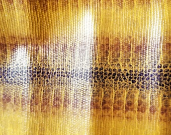 """Leather 9"""" X 13""""  Yellow, Copper Black Snakeskin with Subtle Gloss Cowhide"""