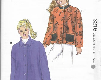 Lot of 2 Kwik Sew sewing patterns, 3216 and 2141, size XS - XL, Jackets, Blouses, Bodysuits