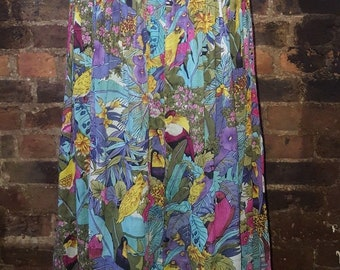 Ladies Size UK 8 10 Vintage 1970's Floral Tropical Parrot Summer Print Swing Skirt