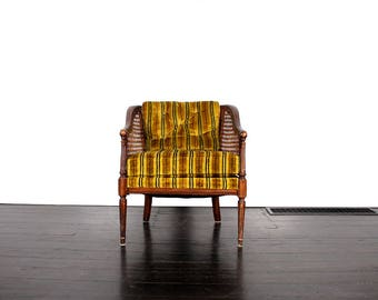 Vintage Striped Chair with Cane Back and Sides