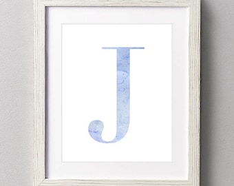 Letter J | Nursery Print | Nursery Art | Alphabet | Instant Download | Digital Print | Wall Art | Baby Boy | Initials | Blue | Watercolor
