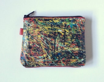 Change purse coin purse Abstract Art wallet Modern Art painting purse Multicolor change purse zippered change purse Red wallet