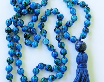 Knotted Blue Glass Beads Long Mala Necklace w/ blue tassel and silver guru bead for yoga & meditation