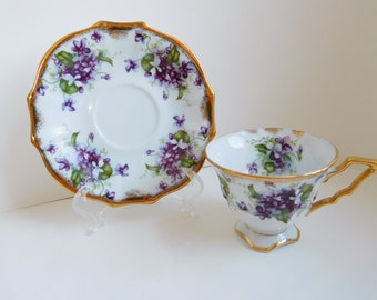 Vintage violets teacup and saucer Royal Sealy teacup purple flowers