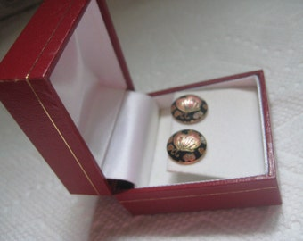 Vintage Cloisonne Butterfly Pierced Post Earrings in Original Box