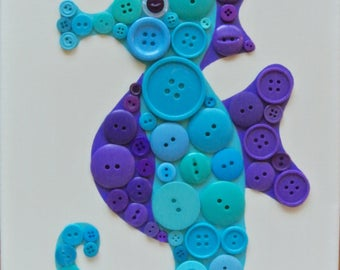 Button Craft KIT for Kids - Seahorse