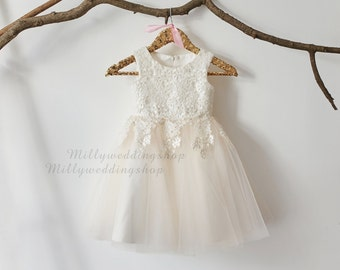 Ivory Lace Champagne Tulle Flower Girl Dress Wedding Bridesmaid Dress M0016