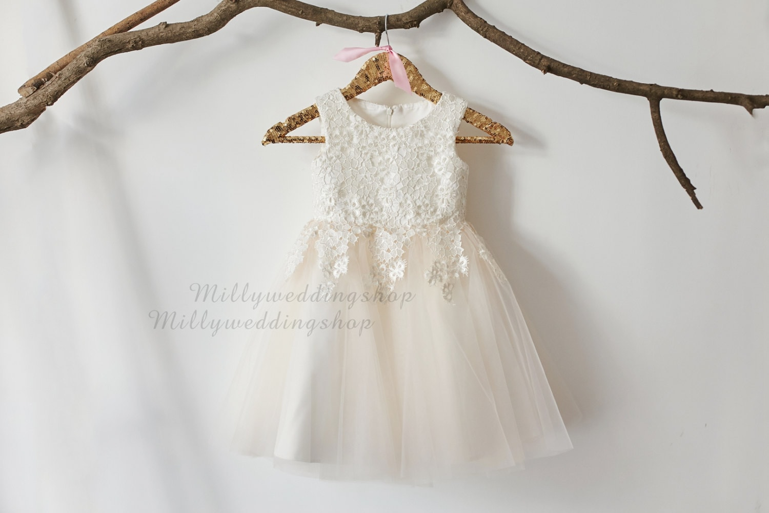 Ivory lace champagne tulle flower girl dress wedding zoom ombrellifo Image collections
