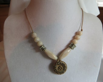 "26"" Ivory and Gold Pendant Necklace on Tan Cording with Matching Earrings, necklace, earrings, matching, ivory, tan, cord"