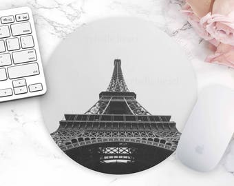 Eiffel Tower Mouse Pad, Paris Office Decor, Desk Accessories, Home Decor, Eiffel Tower, Black White Mouse Pad, Cute Office Decor, Chic Decor