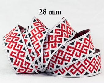 to order! 10 m 28 mm wide jacquard embroidered Ribbon