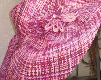 Incredible Pink & Purple Plaid Linen Straw Hat